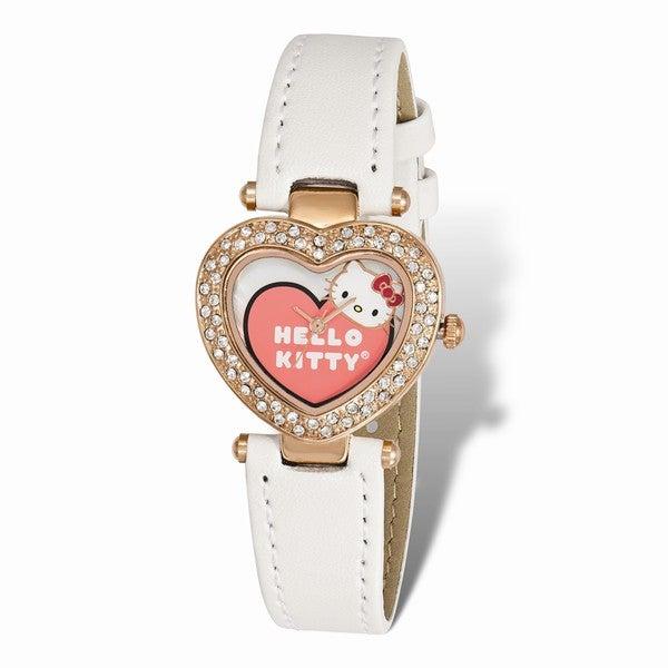 Hello Kitty Women's Pink IP-plated Heart Case Crystal Bezel Watch