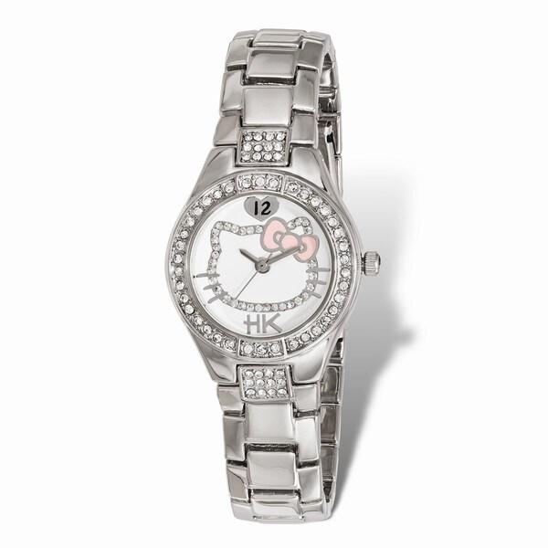 Hello Kitty Women's Crystal Bezel Silhouette Pink Bow Watch