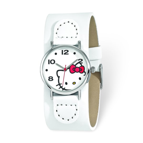 Hello Kitty Women's White Dial Red Bow White Faux Leather Watch