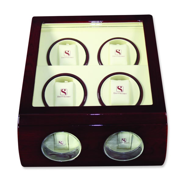 Steinhausen Motor Cherrywood Finish Quad Watch Winder with Display