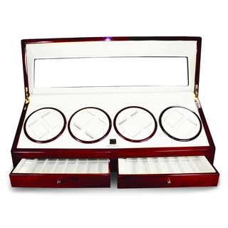 Steinhausen Cherrywood Finish Quad II Watch Winder with Slots and Drawers
