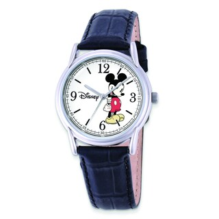 Disney Women's Black Leather Strap Mickey Mouse Watch by Versil