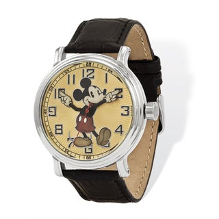 Disney Women's Black Leather Moving Arms Mickey Mouse Watch