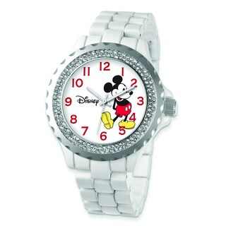 Versil Disney Women's Crystal Bezel Mickey Mouse Watch
