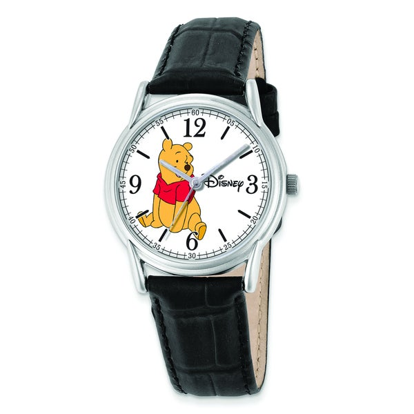 Disney Women's Black Leather Strap Winnie the Pooh Watch
