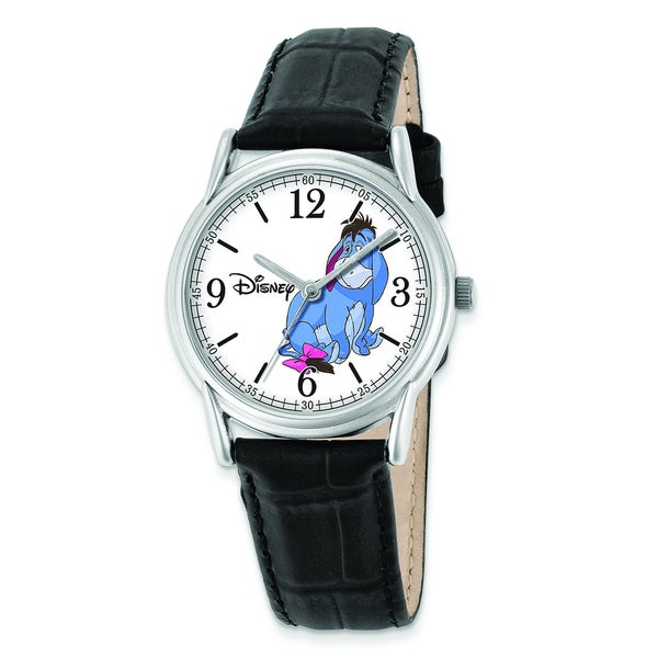 Disney Women's Black Leather Strap Eeyore Watch