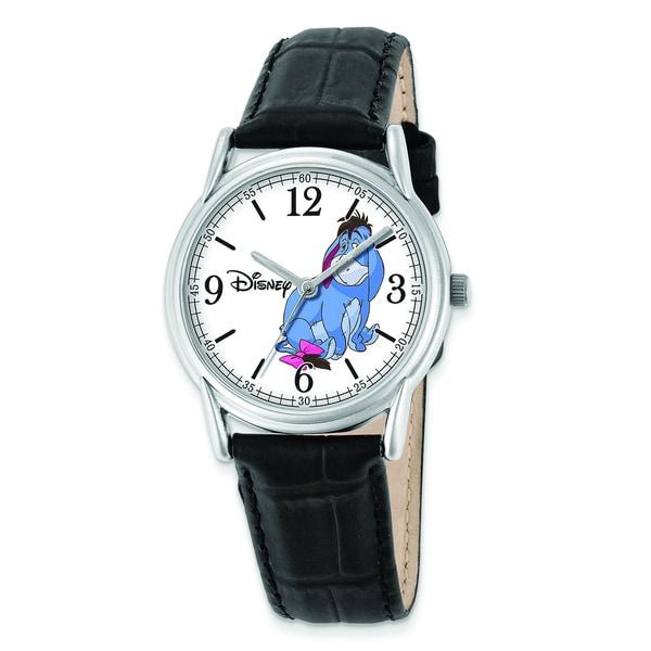Disney Women's Black Leather Strap Eeyore Watch