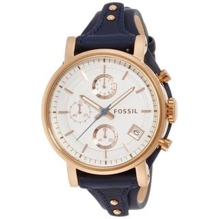 Fossil Women's ES3838 'Original Boyfriend' Chronograph Blue Leather Watch