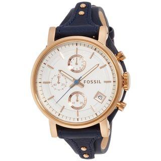 Fossil Women's ES3838 'Original Boyfriend' Chronograph Blue Leather Watch