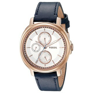 Fossil Women's ES3832 'Chelsey' Multi-Function Crystal Blue Leather Watch
