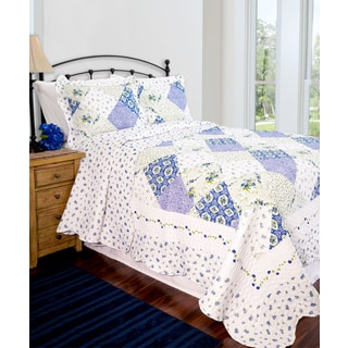 Slumber Shop Wilmington Blue Patchwork Reversible Quilt Set