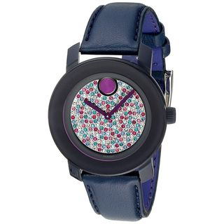 Movado Women's 3600263 'Bold' Crystal Blue Leather Watch