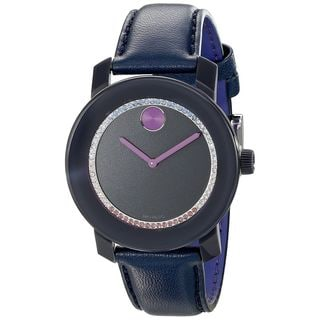 Movado Women's 3600228 'Bold' Crystal Blue Leather Watch
