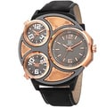 Joshua & Sons Men's Japanese Quartz Triple Time Zone Leather Strap Watch