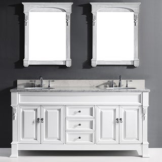 Virtu USA Huntshire 72-inch Double Bathroom Vanity Cabinet Set in White