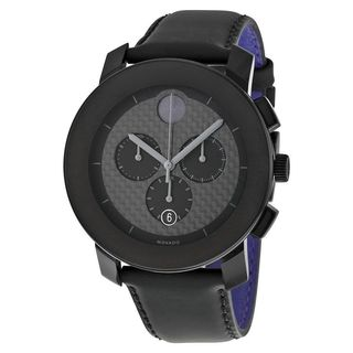 Movado Unisex 3600227 'Bold' Chronograph Black Leather Watch