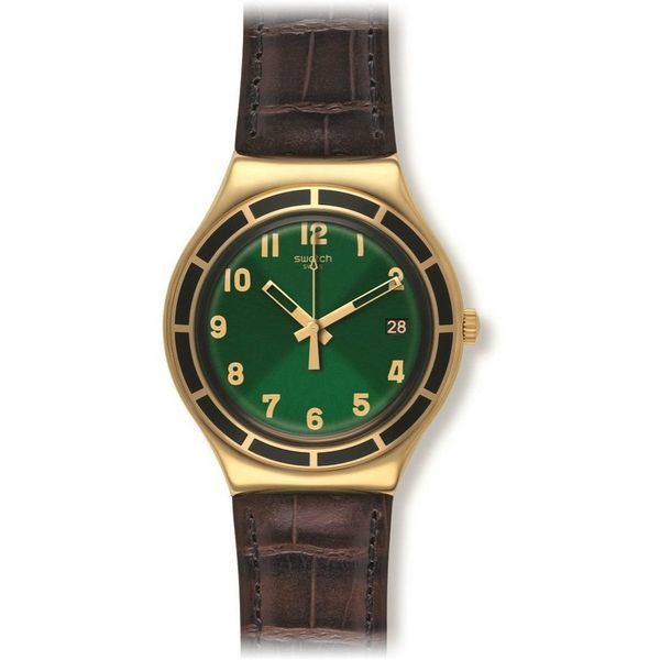 Swatch Unisex YGG406 'Big Dollarone' Brown Leather Watch