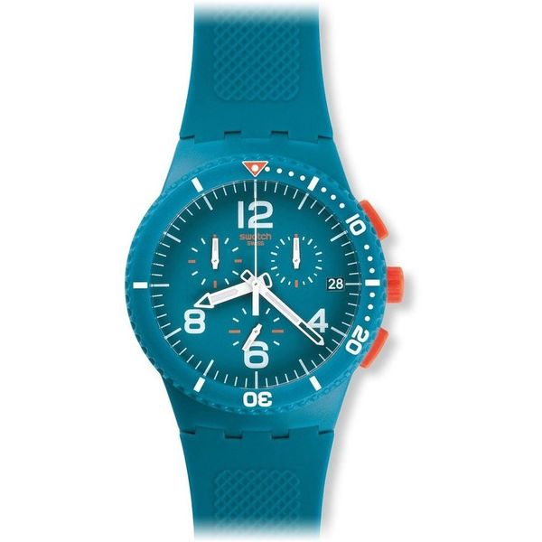 Swatch Unisex SUSN406 'PATMOS' Chronograph Blue Silicone Watch