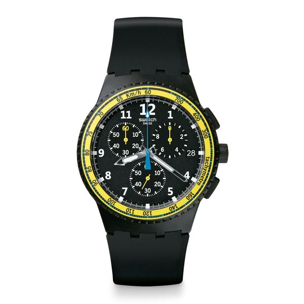 Swatch Unisex SUSB404 'SIFNOS' Chronograph Black Silicone Watch