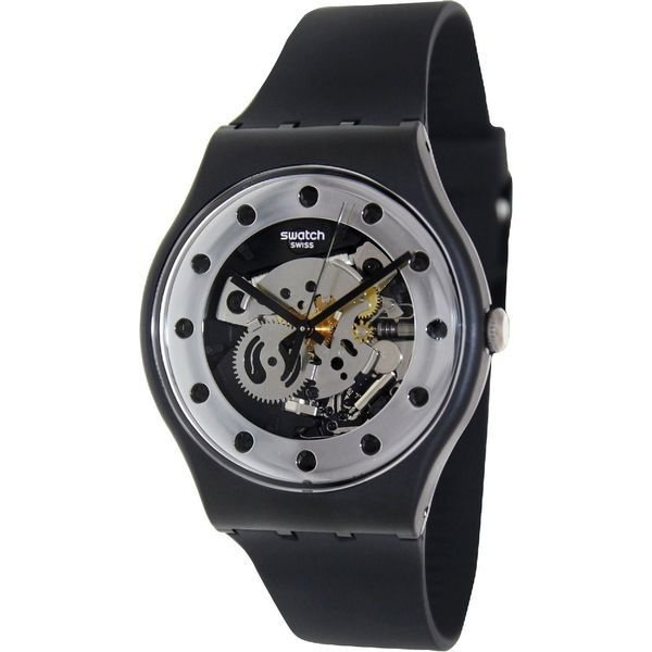 Swatch Unisex SUOZ147 'Silver Glam' Black Silicone Watch