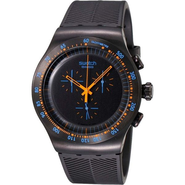 Swatch Men's YOB104 'Peach in Dark' Chronograph Black Rubber Watch