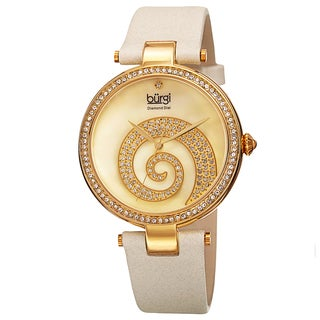 Burgi Women's Japanese Quartz Diamond Crystal Leather Strap Watch
