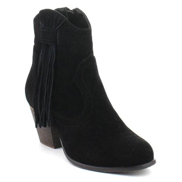 De Bengonia XZ-05 Women's Fringe Side Zip Western Cowboy Chunky Ankle Booties