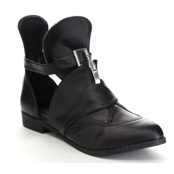 ATHENA FOXTER-1 Women's Cut Out Zipper Low Heel Ankle Booties
