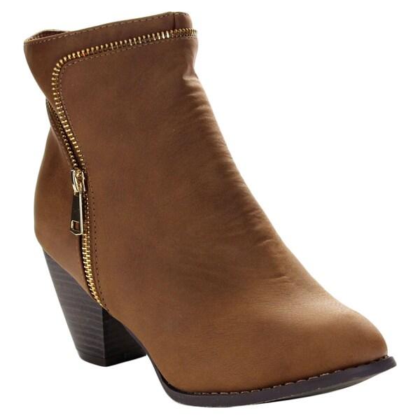 Top Moda TAIL-4 Women's Zippper Trim Stacked Block Heel Ankle Booties