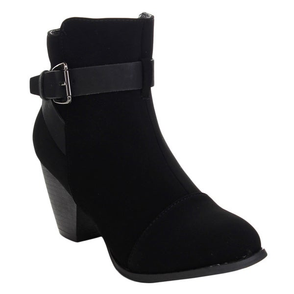 Top Moda TAIL-71 Women's Buckle Strap Block Stacked Heel Ankle Boots