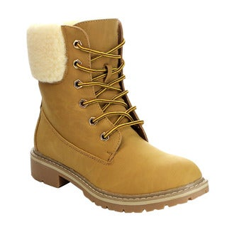 FOREVER BROADWAY-7 Women's Comfort Faux Fur Lining Combat Boots