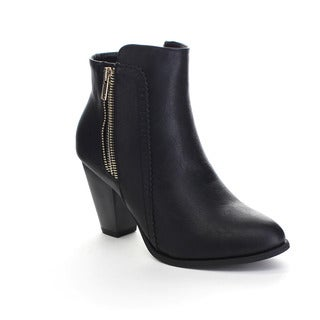 FOREVER CAMILA-65 Women's Stacked Chunky Heel Side Zipper Ankle Booties