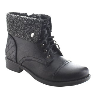 DAVICCINO AA37 Women's Lace Up Fold Over Collar Flat Heel Ankle Combat Booties