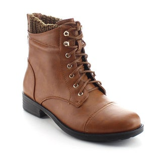 DAVICCINO AA40 Women's Lace Up Sweater Ankle Combat Booties