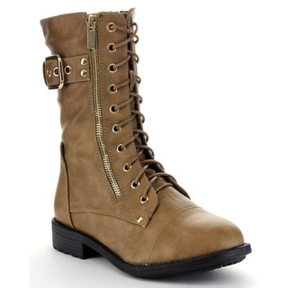 Top Moda PACK-28 Women's Classical Buckle Lace Up Mid Calf Military Boots