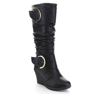 Top Moda PURE-66 Women's Buckle Knee High Platform Wedge Slouched Boots