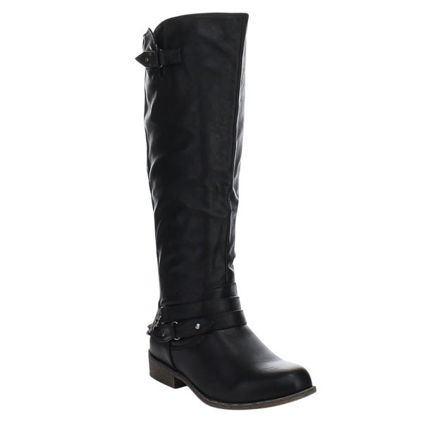 FOREVER CHARITY-51 Women's Comfort Knee High Chunky Heel Riding Boots