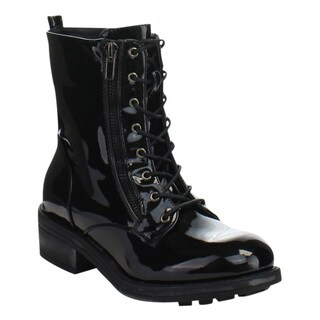 MARK and MADDUX WII-01B Women's Fashion Lace Up Combat Mid Calf Boots