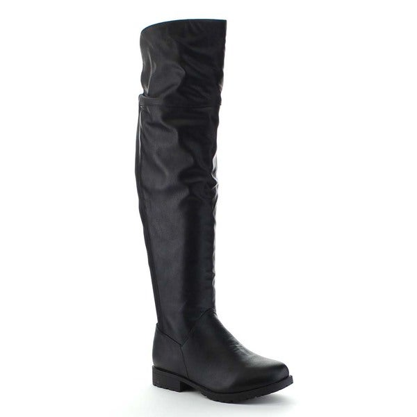 BAMBOO MONTEREY-08 Women's Elastic Back Side Zipper Over The Knee Riding Boots