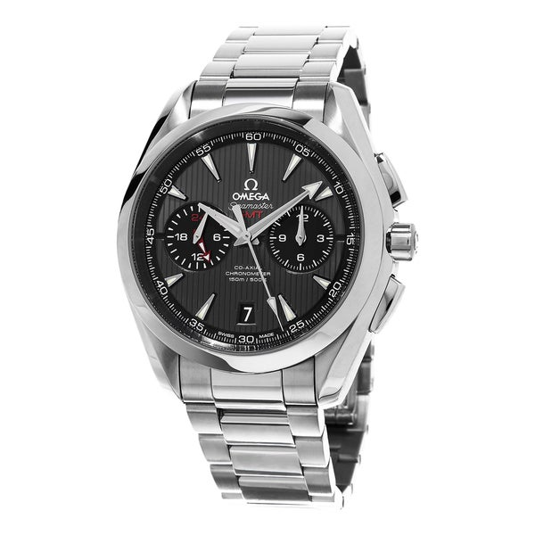 Omega Men's 231.10.43.52.06.001 'Co-Axial AquaTerra' Grey Dial GMT Chronograph Stainless Steel Swiss Automatic Watch