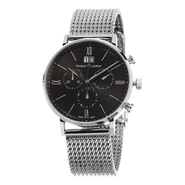 Maurice Lacroix Men's EL1088-SS002-311 'Eliros' Black Dial Stainless Steel Mesh Chronograph Swiss Quartz Watch
