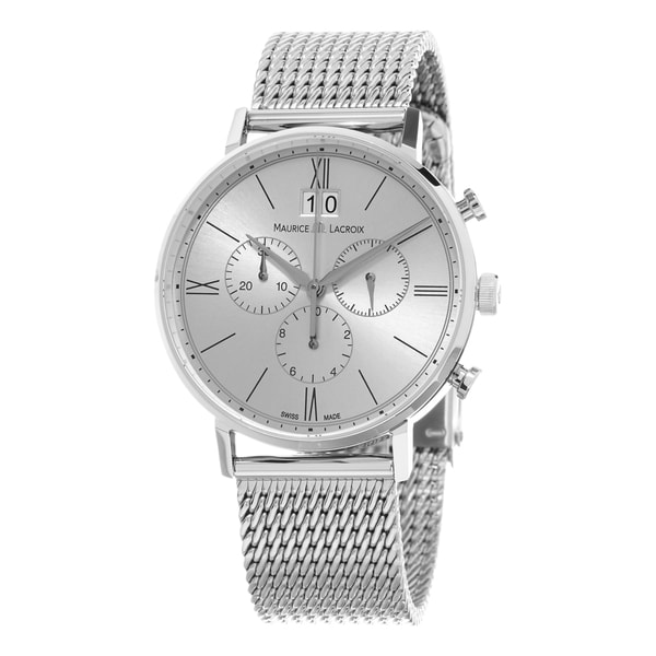 Maurice Lacroix Men's EL1088-SS002-111 'Eliros' Silver Dial Stainless Steel Mesh Chronograph Swiss Quartz Watch