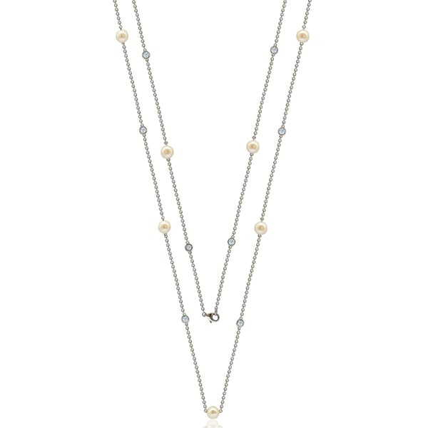 """Suzy Levian Sterling Silver White Sapphire and Pearl By the Yard 36"""" Station Necklace 16287045"""