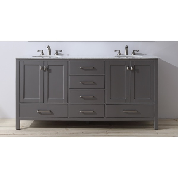 Stufurhome 72 inch malibu grey double sink bathroom vanity for Bathroom 72 inch vanity