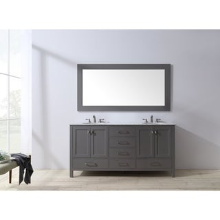 Stufurhome 72 inch Malibu Grey Double Sink Bathroom Vanity with Mirror