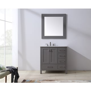 Stufurhome 36 inch Malibu Grey Single Sink Bathroom Vanity with Mirror