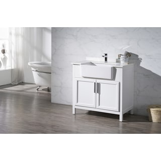 Stufurhome Tyron White 36 Inch Farmhouse Apron Single Sink Bathroom Vanity