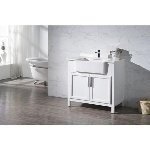 Farmhouse Sink In Bathroom : Stufurhome Tyron White 36 Inch Farmhouse Apron Single Sink Bathroom ...