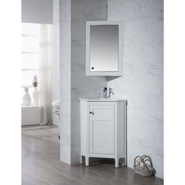 white corner bathroom vanity with mirrored medicine cabinet
