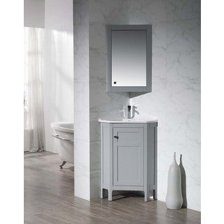 Stufurhome Clarkson Grey 24.25 Inch Corner Bathroom Vanity with Medicine Cabinet